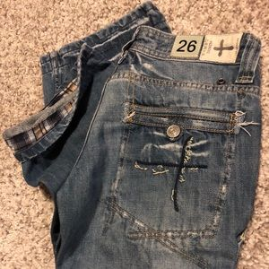Size 26 BAMBOO Distressed JEANS w/ flannel fold